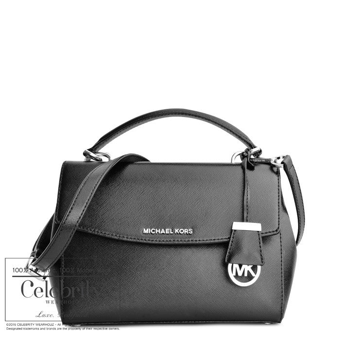 Michael Kors Ava Small Patent Saffiano Leather Satchel ( Black )