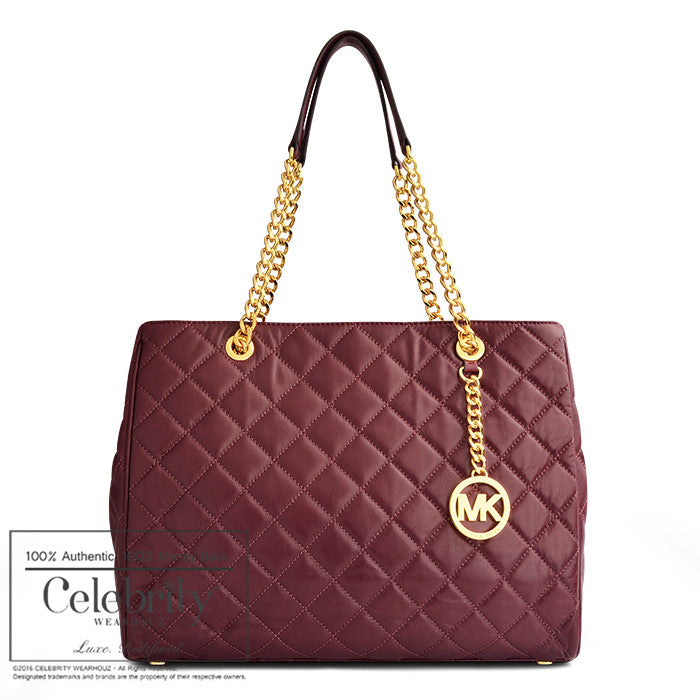 Michael Kors Susannah Large Quilted-Leather Tote in Merlot