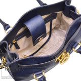 Michael Kors Hamilton Saffiano Leather Medium Satchel in Navy