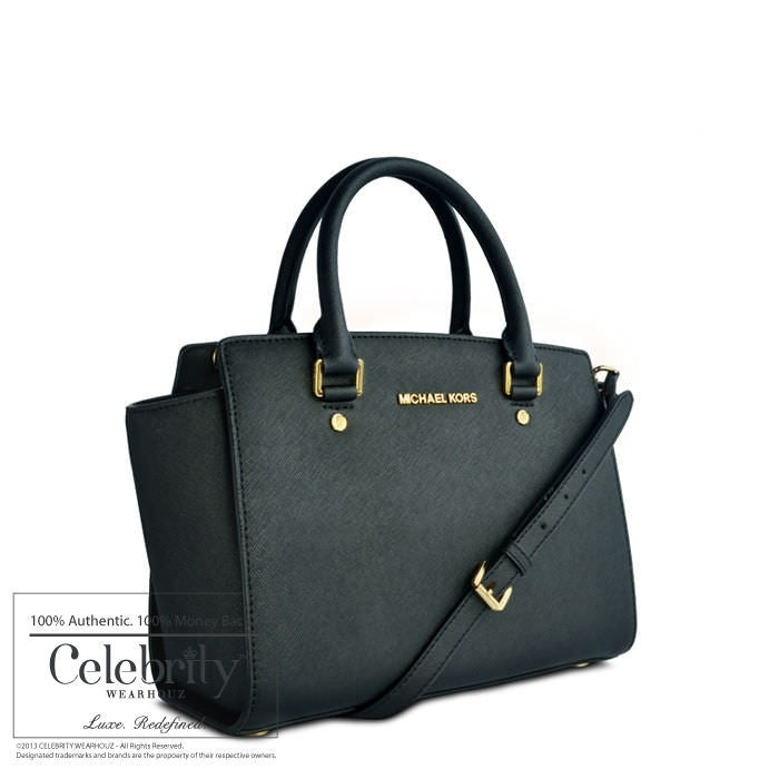 Michael Kors Selma Medium Top Zip Satchel Black