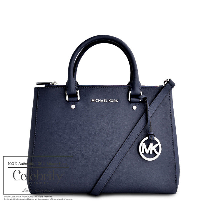 Michael Kors Sutton Leather Medium Navy