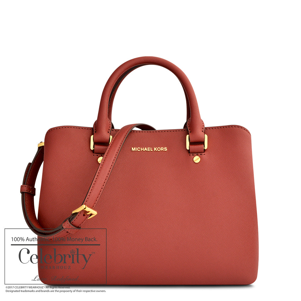 Michael Kors Savannah Medium Saffiano Leather Satchel Bag in Brick