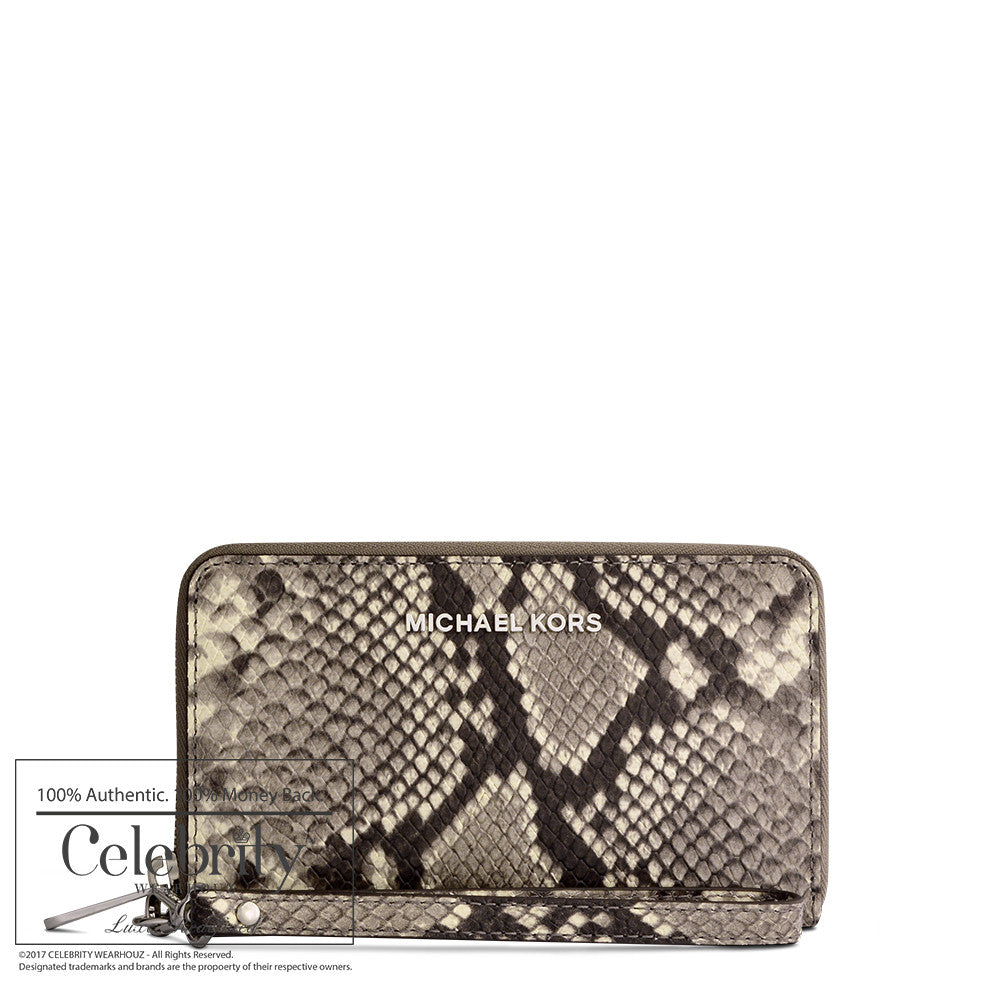 Michael Kors Jet Set Travel Large Smartphone Wristlet in Snake Embossed