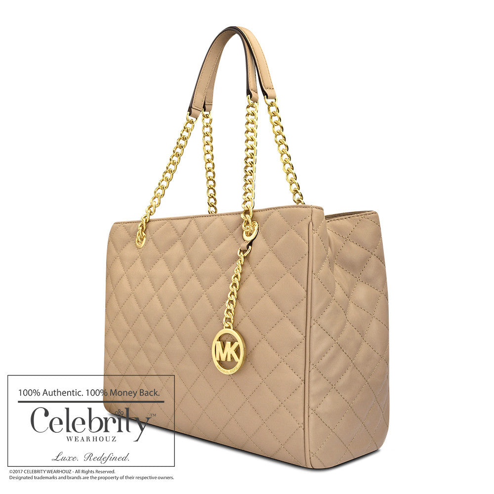 Michael Kors Susannah Large Quilted-Leather Tote in Dark Khaki