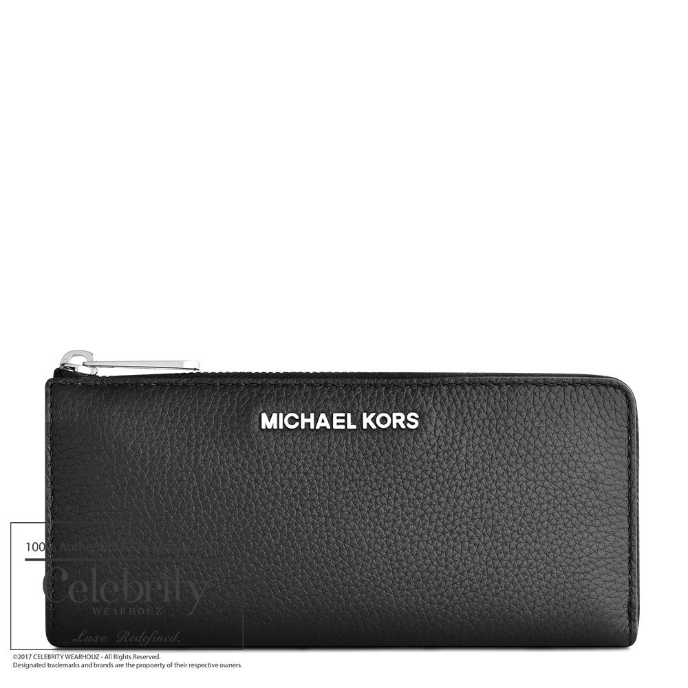 Michael Kors Bedford Large Three Quater Zip Wallet in Black