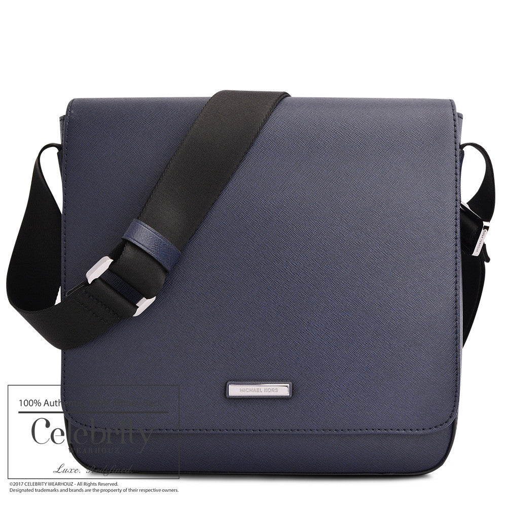 Michael Kors Medium Flap Messenger Leather in Navy