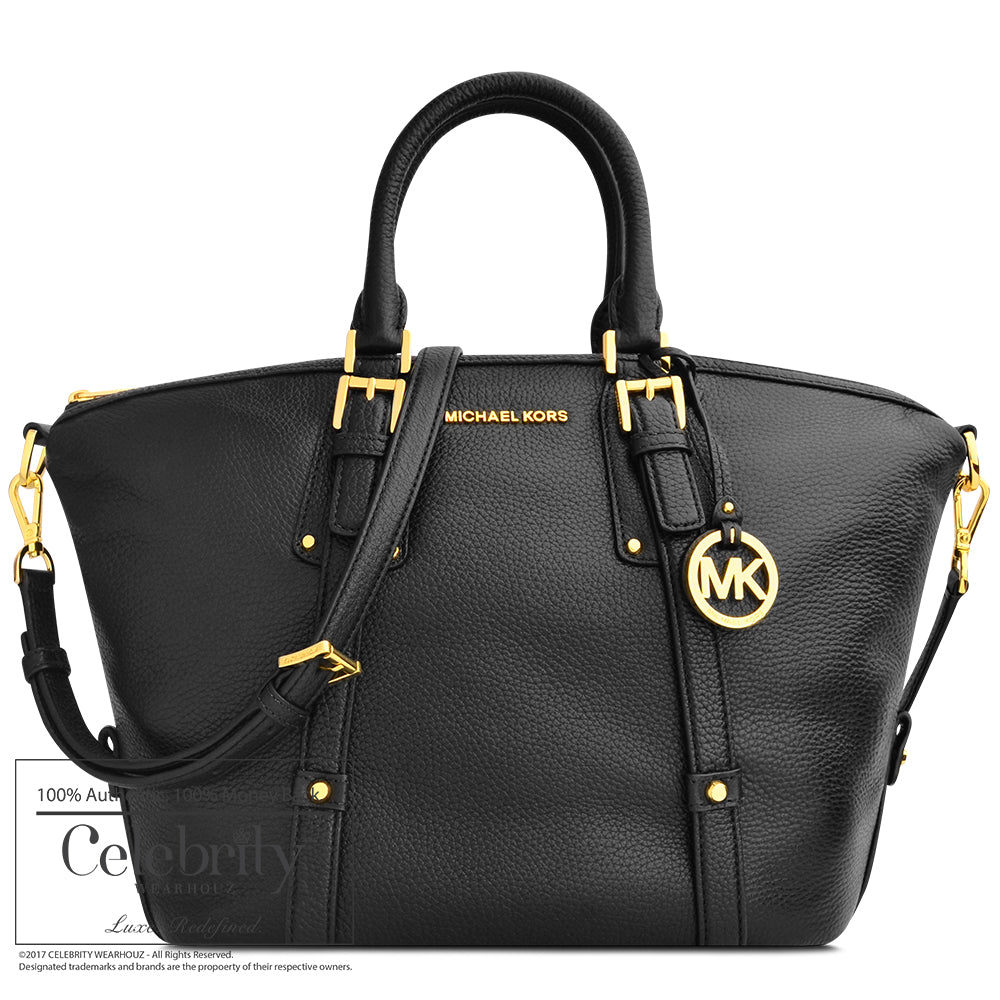 Michael Kors Bedford Satchel Leather Belted Bag in Black