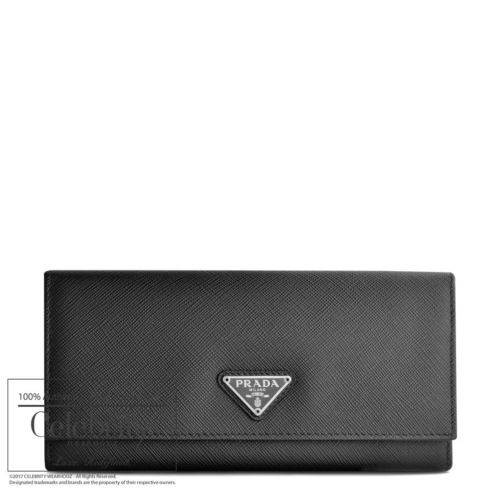 Prada Saffiano Leather Continental Wallet Nero 1