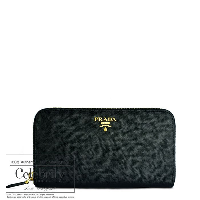 Prada Saffiano Zipped Wallet Nero1