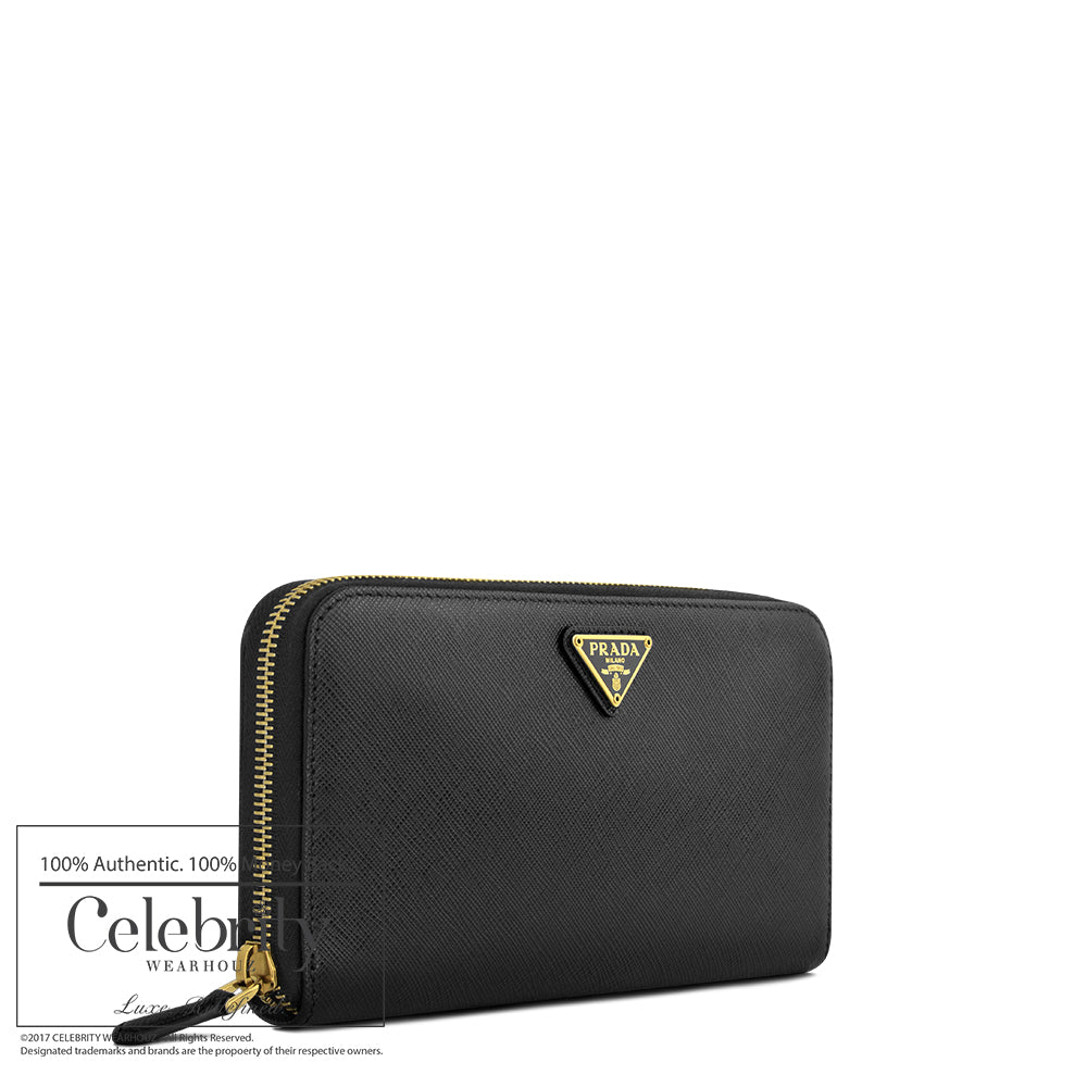 Prada Saffiano Triangle Zipped Wallet Nero