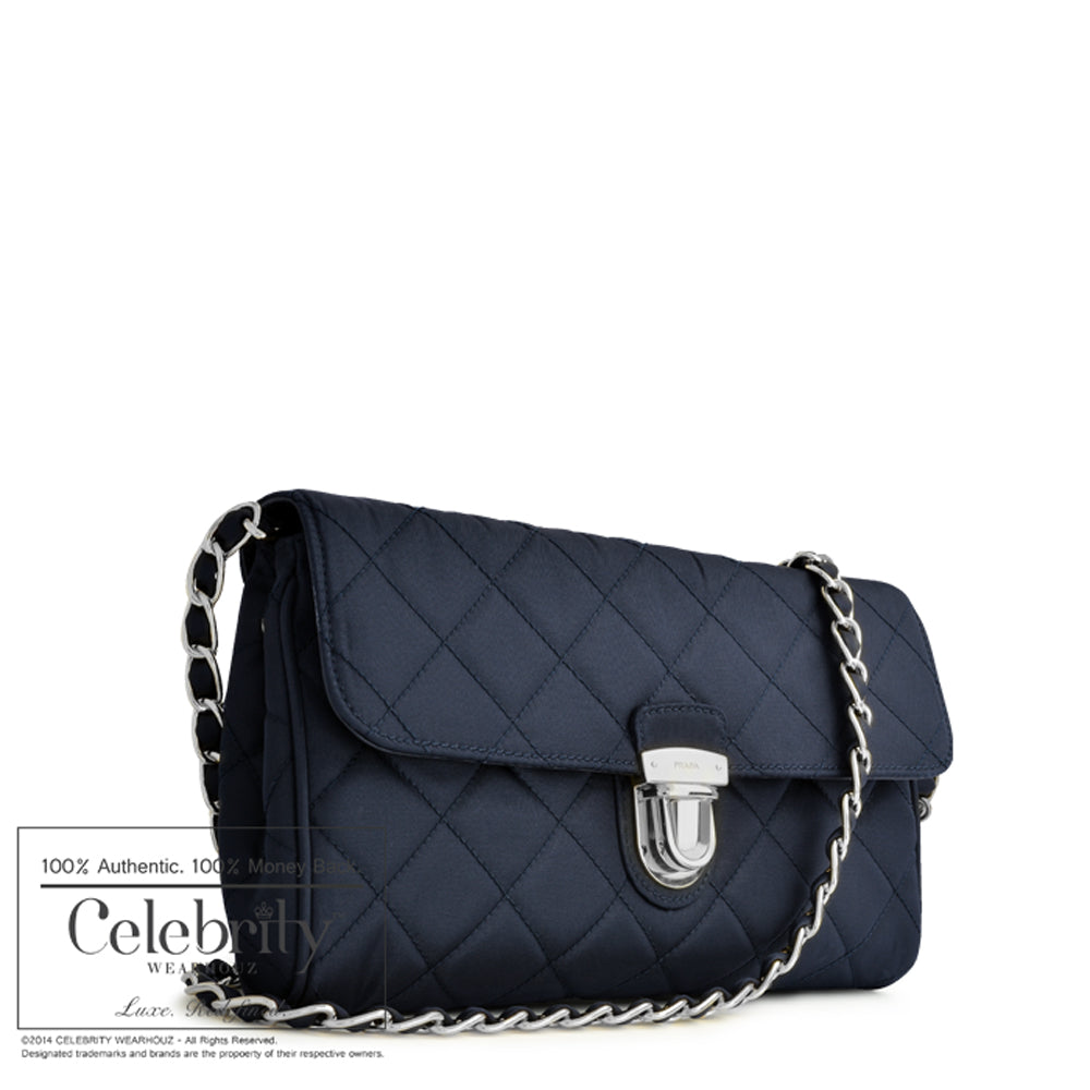 Prada Tessuto Impuntu Clutch Sling Bag in Bleu