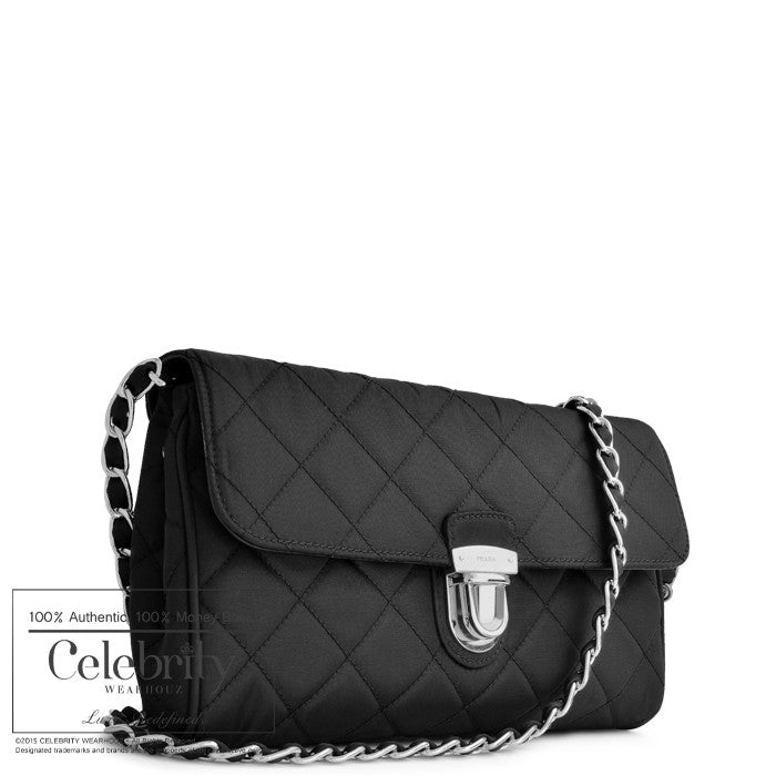 Prada Tessuto Impuntu Clutch Sling Bag in Nero