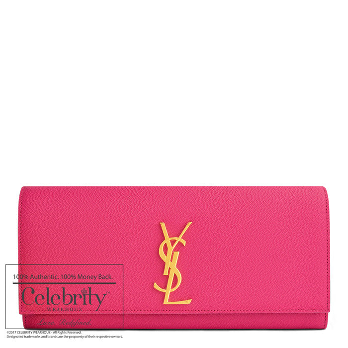YSL Classic Monogramme' Pink Textured Leather Clutch