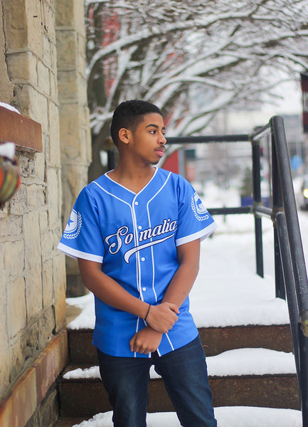 Customize Blue Somalia Baseball Jersey