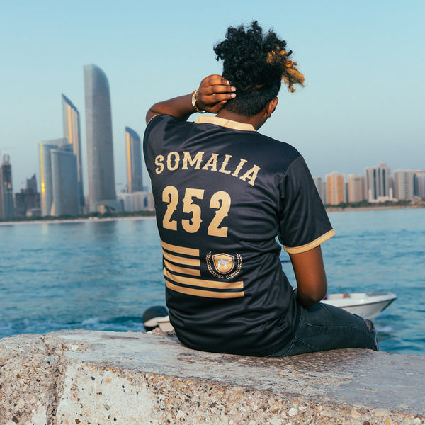 2017 Limited Edition Black and Gold Somalia Soccer Jersey