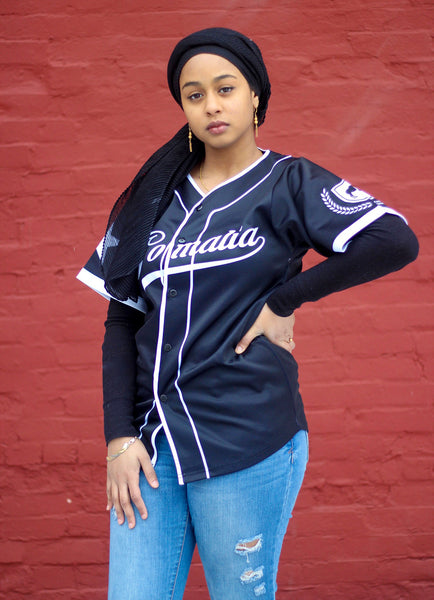Customize Black and White Somalia Baseball Jersey