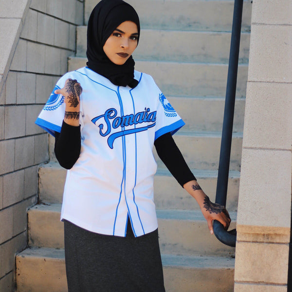 Customize Blue and White Somalia Baseball Jersey