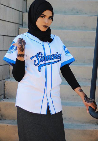 White and Blue Somalia Baseball Jersey