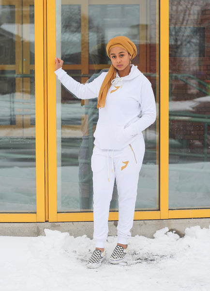 All White with Gold Somalia Tracksuit