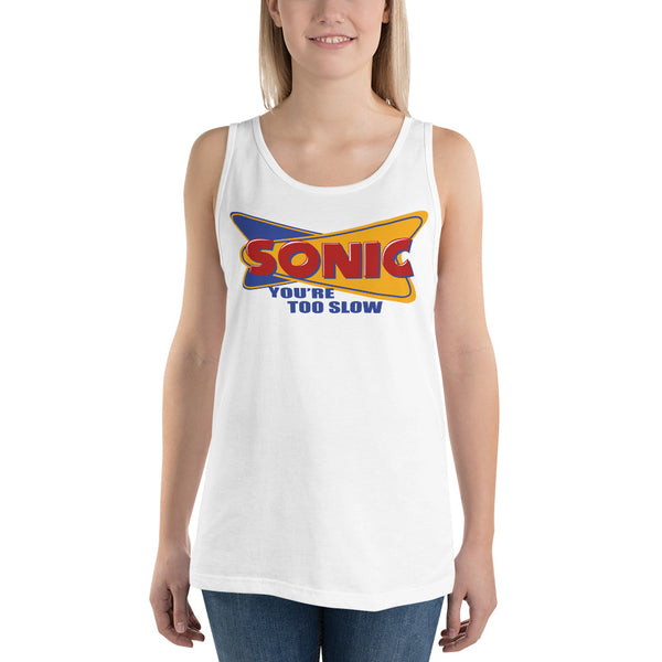 Sonic parody Tank Top- You're too Slow!!