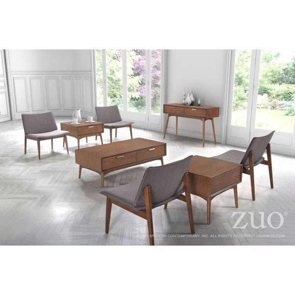 ZUO Modern Design District Side Table Walnut 100092 Living Side Consoles - Pankour
