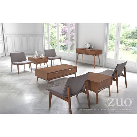 ZUO Modern Design District Coffee Table Walnut 100091 Living Consoles - Pankour