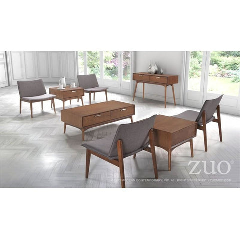 ZUO Modern Design District Console Table Walnut 100093 Living Coffee Consoles - Pankour