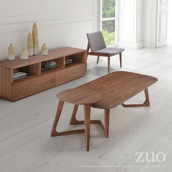 ZUO Modern Park West Side Table Walnut 100098 Living Coffee Consoles - Pankour