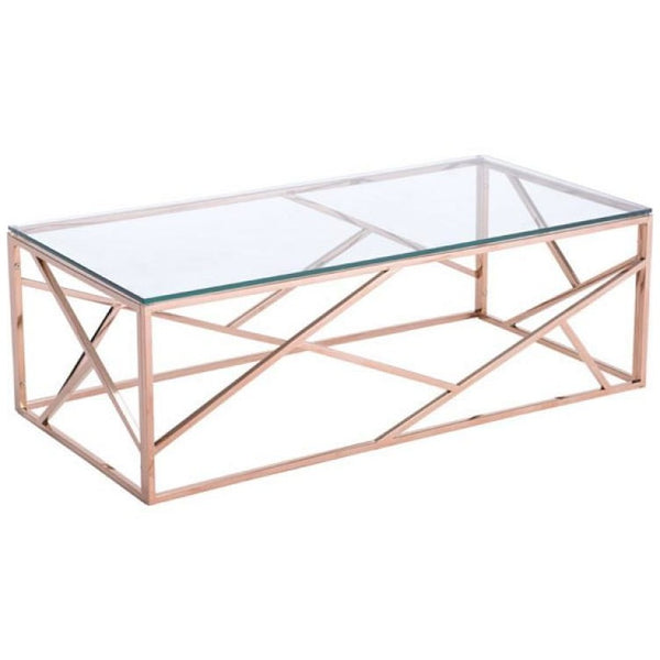 ZUO Modern Cage Coffee Table Rose Gold 100180 Living Consoles - Pankour