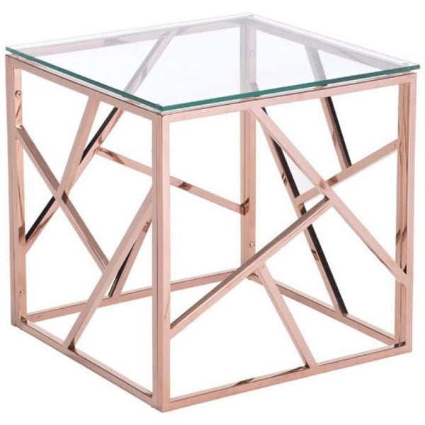 ZUO Modern Cage Side Table Rose Gold 100182 Living Side Consoles - Pankour