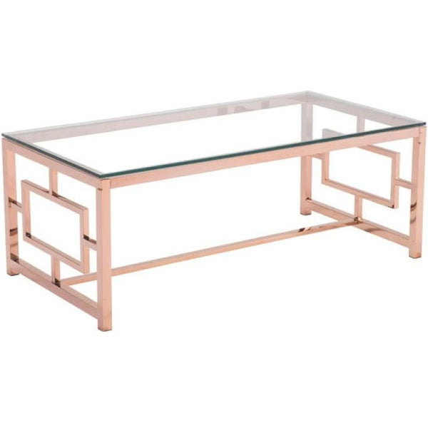 ZUO Modern Geranium Coffee Table Rose Gold 100184 Living Side Consoles - Pankour