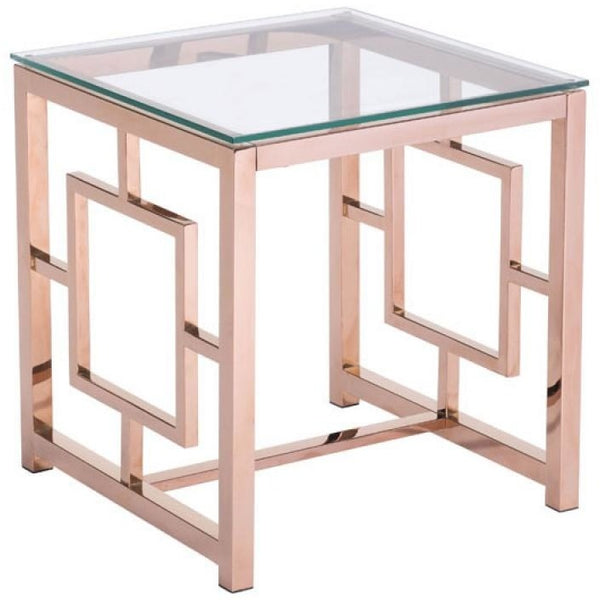 ZUO Modern Geranium Side Table Rose Gold 100186 Living Consoles - Pankour