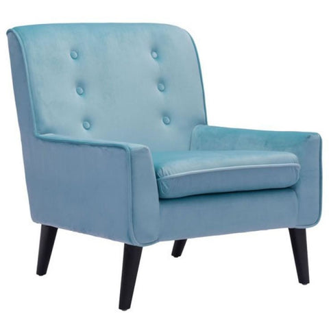 ZUO Modern Coney Arm Chair Aqua Velvet 100223 Living Chairs