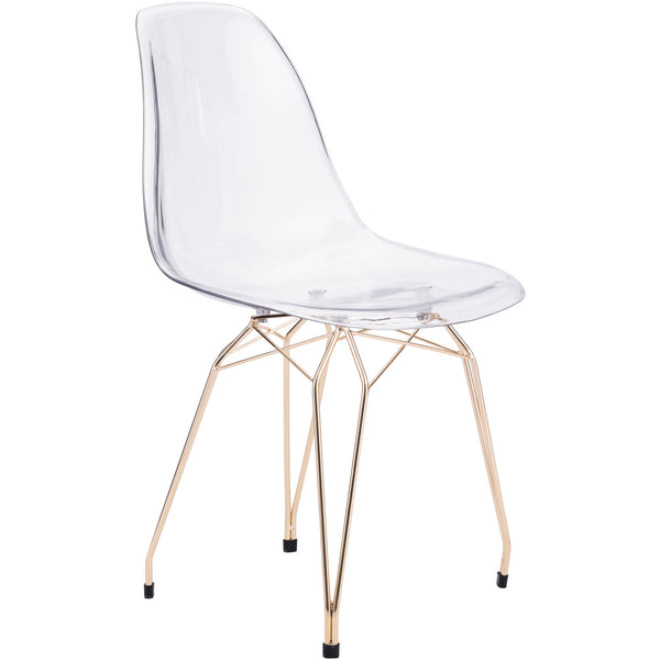 Zuo Modern Transparent & Gold Shadow 100262 Dining Chair - Pankour
