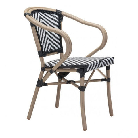 Zuo Modern Black & White Paris 703802 Dining Arm Chair - Pankour