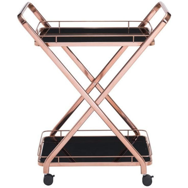 ZUO Modern Vesuvius Serving Cart Rose Gold 100370 Dining/Bar Storage - Pankour