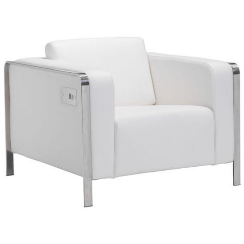 ZUO Modern Thor Arm Chair White 100384 Living Chairs