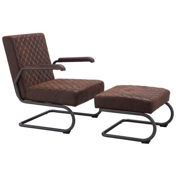 ZUO Modern Father Lounge Chair Vintage Brown 100406 Living Chairs - Pankour