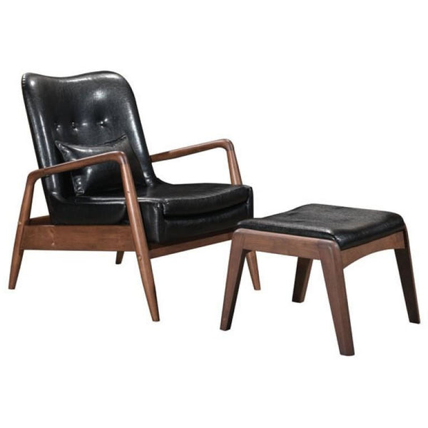 ZUO Modern Bully Lounge Chair & Ottoman Black 100534 Living Chairs - Pankour