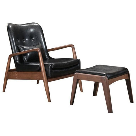 ZUO Modern Bully Lounge Chair & Ottoman Black 100534 Living Chairs