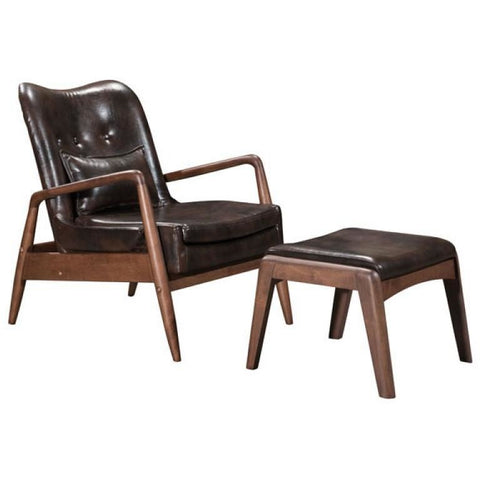 ZUO Modern Bully Lounge Chair & Ottoman Brown 100535 Living Chairs