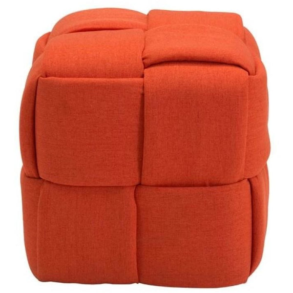 ZUO Modern Checks Stool Orange 100641 Living Stools / Ottomans - Pankour