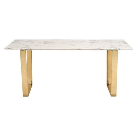 ZUO Modern Atlas Dining Table Stone & Gold 100652 Dining Tables - Pankour