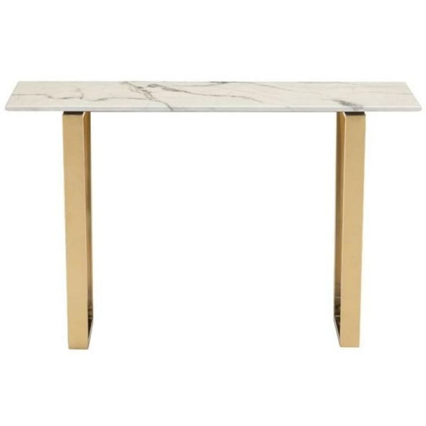 ZUO Modern Atlas Console Table Stone & Gold 100654 Living Coffee/Side/Consoles - Pankour