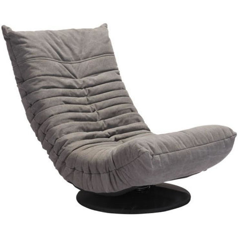 ZUO Modern Down Low Swivel Chair Gray 100682 Living Sofas - Pankour