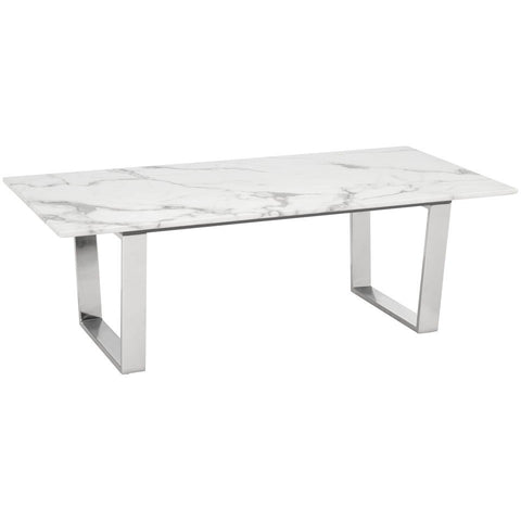 ZUO Modern Atlas Dining Table Stone & Brushed Ss 100707 Dining Tables - Pankour
