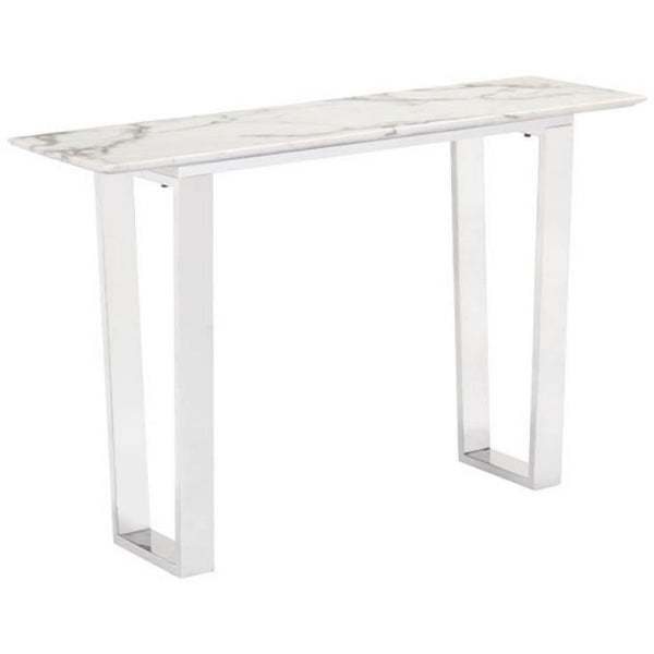 ZUO Modern Atlas Console Table Stone & Brushed Stainless Steel 100709 Living Coffee/Side/Consoles - Pankour