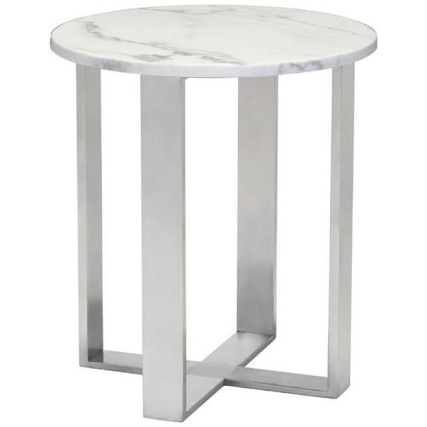 ZUO Modern Atlas End Table Stone & Brushed Stainless Steel 100711 Living Coffee/Side/Consoles - Pankour