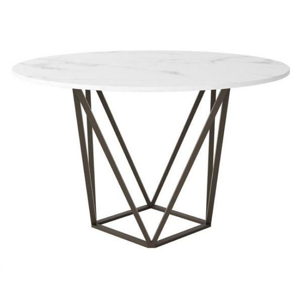 ZUO Modern Tintern Dining Table Stone & A. Brass 100715 Dining Tables - Pankour