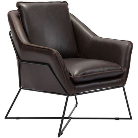ZUO Modern Lincoln Lounge Chair Brown 100726 Living Chairs